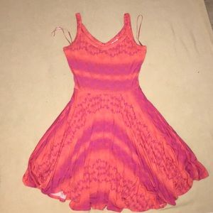 Flowy orange and pink Kenar dress size small